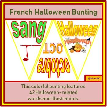 French, en français: 42 flags for Halloween Bunting