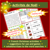 French, en français, Christmas Activities & Games: reading cards, word searches