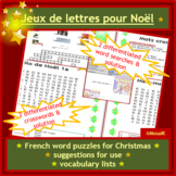 French, en français & Christmas: differentiated word searches, crossword puzzles