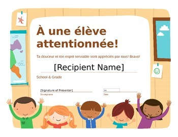French end of the year certificates