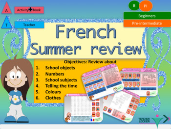 French end of year revisions - summer homework for beginners