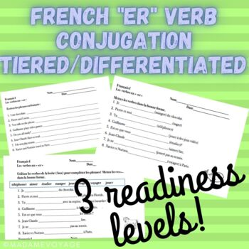 "French ""er"" verbs Tiered Conjugation Warm up"