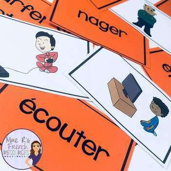 French -er verbs vocabulary slap game and flashcards LES VERBES EN -ER