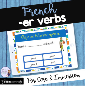 French -er verbs task cards BOOM CARDS
