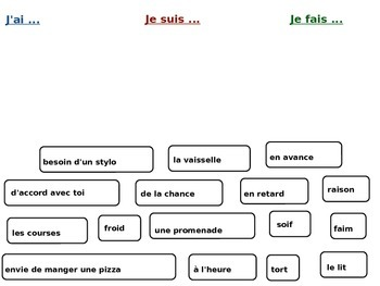 French expressions with avoir, faire and etre Jigsaw