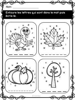 French fall - automne - Cahier d'activités de l'élève