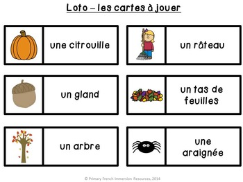 French fall / l'automne - bingo game