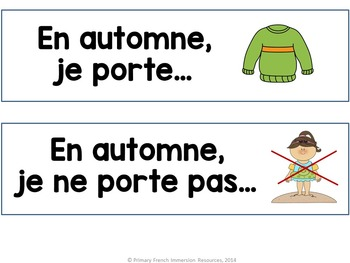 French fall / l'automne - sentence starter prompts