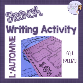 French fall writing activity L'AUTOMNE
