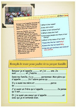 French family, la famille booklet for beginners
