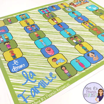 French family vocabulary board game LA FAMILLE