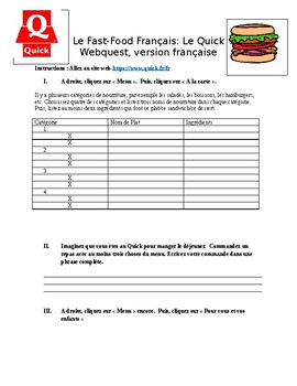 French fast-food webquest Le Quick