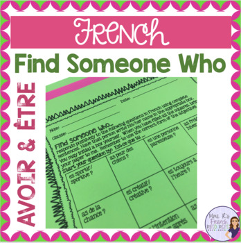 French speaking activity AVOIR AND ÊTRE FIND SOMEONE WHO