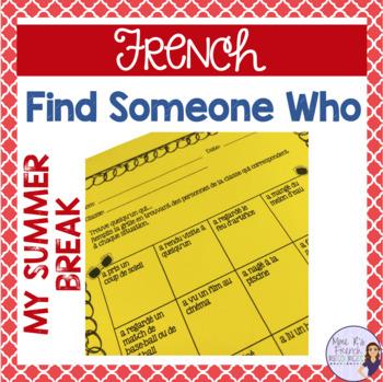 French find someone who...my summer break - Icebreaker