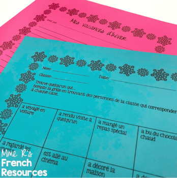 French winter speaking find someone who activity / hiver