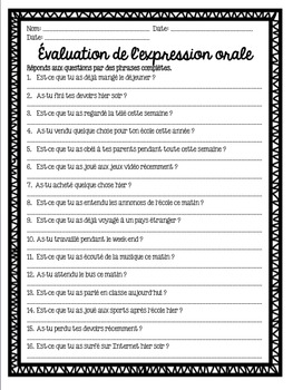 French speaking activity FIND SOMEONE WHO PASSÉ COMPOSÉ