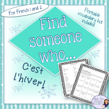 French winter find someone who activity... / c'est l'hiver FREEBIE