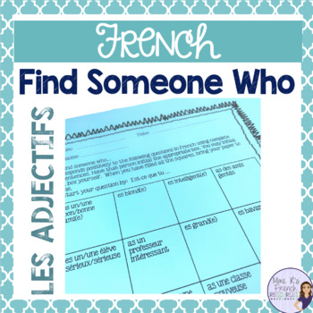 French speaking activity - find someone who...adjectives  for French beginners