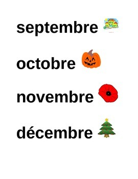 French flash cards: Months of the year
