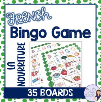 French bingo game food and drink LA NOURRITURE