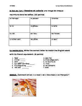 French food/drinks quiz (lower level)