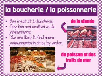 French food shopping PowerPoint presentation LA NOURRITURE