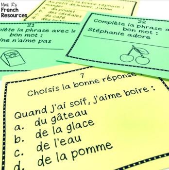 French food vocabulary task cards CARTES À TÂCHES LA NOURRITURE