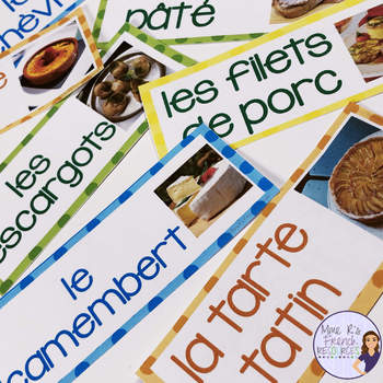 French food vocabulary word wall MUR DE MOTS LE DÎNER