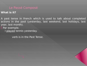 French francais passe compose past tense presentation and activities