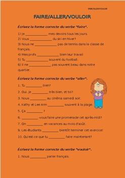 French francais present irregular verbs faire aller pouvoir