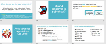 French francais subjunctive subjonctif lesson + activities + games- 58 slides!