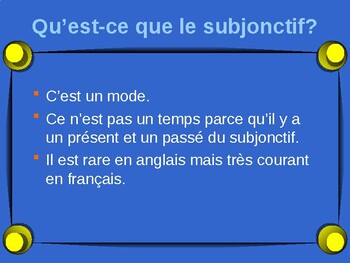 French francais subjunctive subjontif w/ necessity presentation + activities