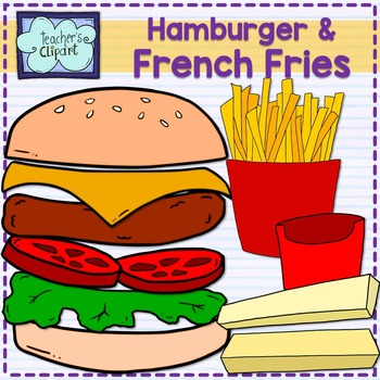 Hamburger and French fries {Write on} clipart