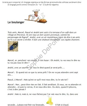 French future tense, futur simple, near future  - story- Le secret du boulanger