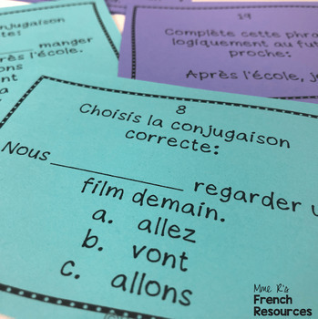 French futur proche task cards and scoot game