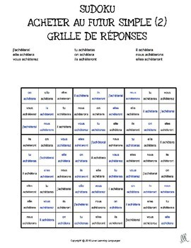 French future tense sudoku games - Le futur simple