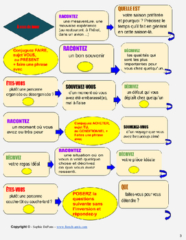French conversation and grammar game- 70 subjects to talk about + Drills