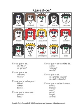 """French game """"Qui est-ce?"""" (Guess Who)  great for reluctant French speakers"""