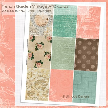 French garden digital printable vintage cards gift tags