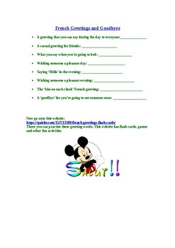 French greetings - activity