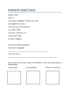 French greetings vocabulary worksheet & activities