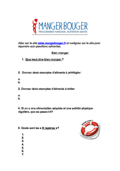 French health nutrition. Cyber enquête: manger bouger