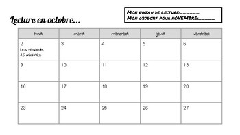 French home reading calendar