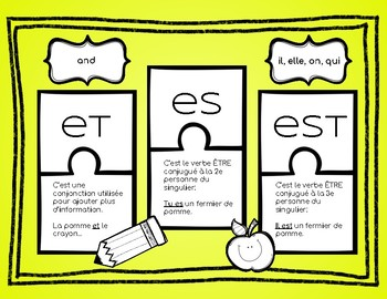 French homophones français ( worksheets: set #1 )
