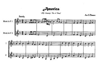 """French  horn Duet: """"America""""  (My Country 'Tis of Thee)"""