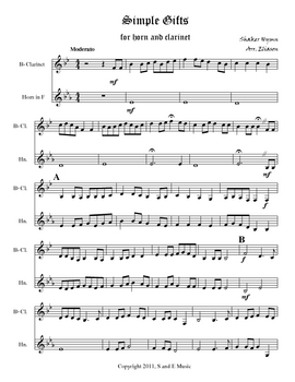French horn and Clarinet Duet: Simple Gifts