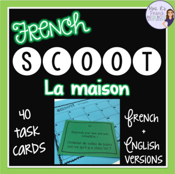 French house and home task cards and scoot game - cartes à tâches la maison