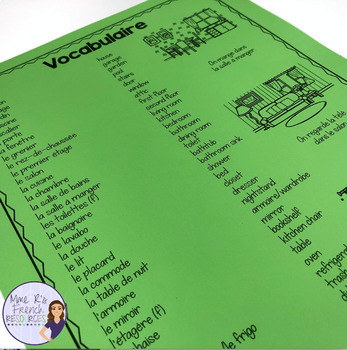 French bingo house vocabulary LA MAISON