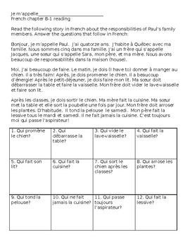 French household chores reading/ questions worksheet