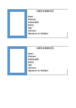 french identity card template by jane phillips tpt